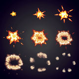 Explode effect animation. Cartoon bang explosion frames Stock Photos