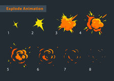 Explode effect animation. Cartoon cool explosion frames Stock Photography