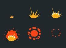 Explode effect animation with smoke. Cartoon bang explosion frames Stock Photos