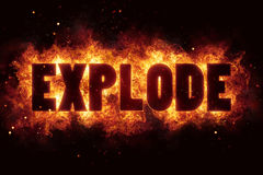 Explode fire flame flames burn glow boom explosion. Text hot Stock Images
