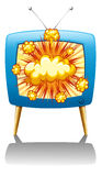Explode and TV Royalty Free Stock Image