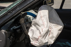 Exploded airbag. Airbag exploded at a car accident Stock Photography