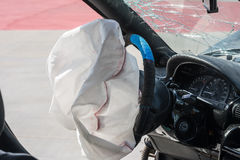 Exploded airbag. Airbag exploded at a car accident Stock Image