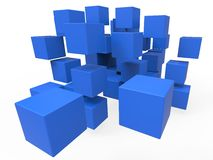 Exploded Blocks Showing Unorganized Puzzle Stock Photography