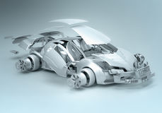Exploded car. Concept; 3d illustration Stock Images