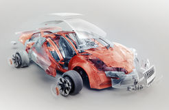 Exploded car. Concept, 3d render Stock Photography