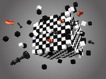 Exploded chess cube on gray background. 3D rendered exploded chess cube on gray background Royalty Free Stock Photo