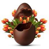Exploded Easter egg and tulip flowers in the background. Exploded Easter egg and tulip flowers Royalty Free Stock Photo