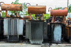 Exploded electric transformers Royalty Free Stock Photo