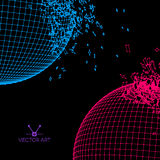 Exploded grid balls made of connected dots Royalty Free Stock Images