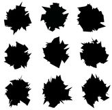 Exploded icon black sharp silhouette collection over white. Exploded icon black sharp silhouette collection on white Royalty Free Stock Photo