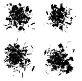 Exploded icon black silhouette collection over white Stock Image
