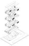 Exploded isometric drawing. An isometric drawing showing the underground, ground floor, and upper floors each alone Royalty Free Stock Images
