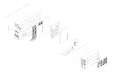 Exploded isometric drawing of a youth hostel. Exploded isometric drawing showing the facades and the interior each alone Stock Photos