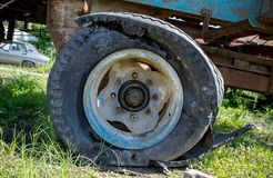 The exploded tire of an agricultural machinery royalty free stock photos