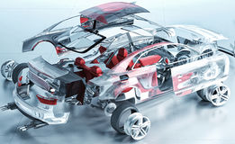 Exploded transparent car. Realistic 3d render Stock Image