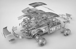 Exploded transparent car. 3d render Stock Photos