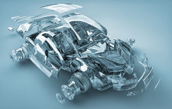 Exploded transparent car. ș 3d  render Stock Photography