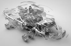 Exploded transparent car. 3d render Stock Image