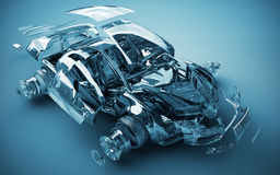 Exploded transparent car. 3d render Royalty Free Stock Photography