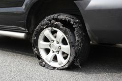 Exploded truck tire Stock Photo