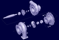 Exploded Turbocharger. 3D illustration of exploded turbocharger, in a line and shade style Royalty Free Stock Photography