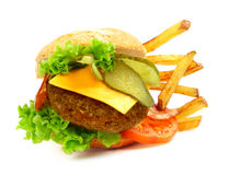 Exploded view of hamburger Stock Images
