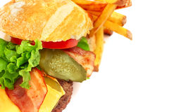 Exploded view of hamburger. With french fries  on white background Royalty Free Stock Photography