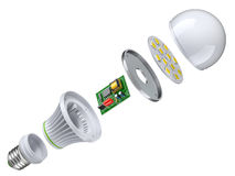 Exploded view of LED bulb. Isolated on white background - 3D illustration Royalty Free Stock Image