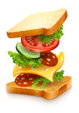 Exploded view of sandwich ingredients. With cheese, tomatoes, lettuce and sausage. Vector illustration on white background EPS10. Transparent objects used for Stock Photos