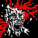 Exploded zombie head with splashes of blood and skull splinters. Vector illustration. Royalty Free Stock Images