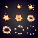 Explodeer effect animatie De explosiekaders van de beeldverhaalklap royalty-vrije illustratie
