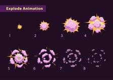 Explodeer effect animatie met rook Stock Afbeeldingen