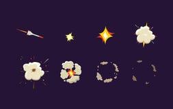 Explodeer effect animatie met rook Raketstaking De kaders van de beeldverhaalexplosie Vector beeldverhaalillustratie Stock Fotografie