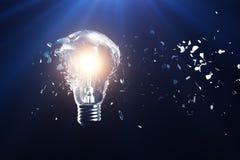 Exploderande ljus kula på en blå bakgrund, med idérikt tänka för begrepp och innovativa lösningar framförande 3d Royaltyfri Fotografi
