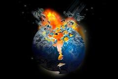 exploderande planet för dödjord Royaltyfria Bilder