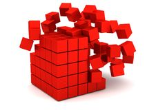 Exploderande röda askar arkivfoto
