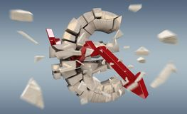 Exploderande tolkning för eurovaluta 3D Royaltyfri Bild