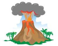 exploderande vulkan för tecknad film Fotografering för Bildbyråer