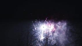 Exploderend multi gekleurd vuurwerk in nachthemel Slag - omhoog verlichting viering Vele schoten stock footage