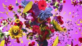Exploderende kleurrijke bloemen vector illustratie