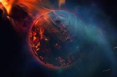Exploderende planeet na stervormig effect vector illustratie