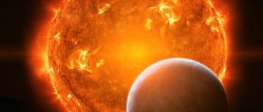 Exploderende zon in ruimte dicht bij aarde Royalty-vrije Stock Afbeelding