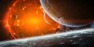 Exploderende zon in ruimte dicht bij planeet Royalty-vrije Stock Foto