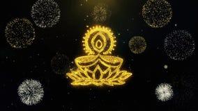 Explodierendes Feuerwerk Deepak Diya Lamp Written Gold Particless