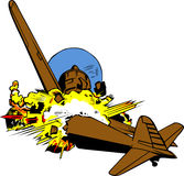 Explodierendes Kampfflugzeug Lizenzfreie Stockfotos