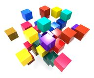 Exploding Blocks Showing Scattered Puzzle Stock Photos