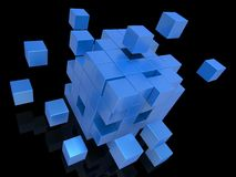 Exploding Blocks Showing Unorganized Puzzle Royalty Free Stock Photos