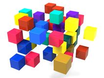 Exploding Blocks Shows Scattered Puzzle Royalty Free Stock Photos
