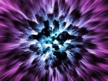 Exploding blue city. On purple background Stock Images